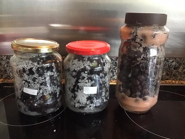 Salted olives in jars